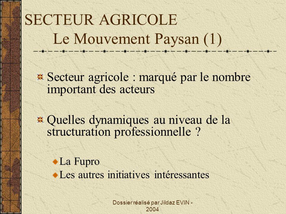 SECTEUR AGRICOLE Le Mouvement Paysan (1)