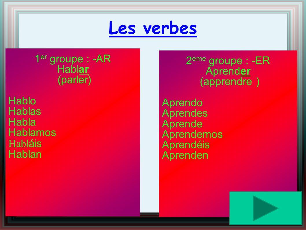 Les verbes 2ème groupe : -ER 1er groupe : -AR Aprender Hablar
