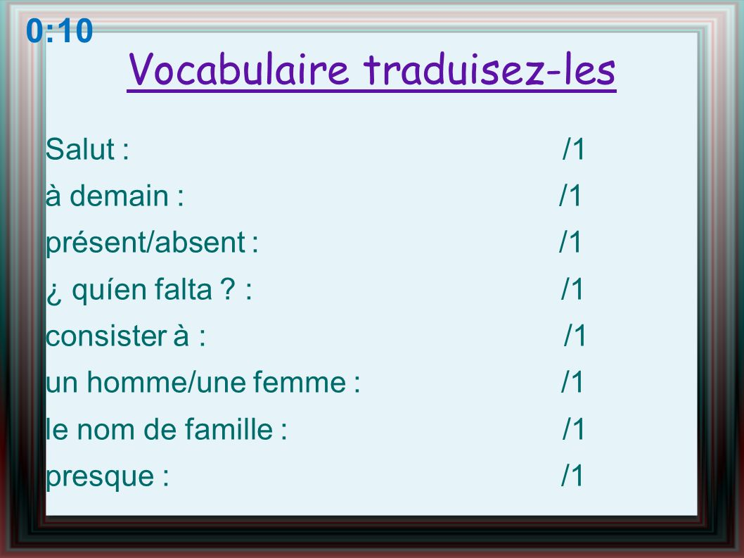 Vocabulaire traduisez-les