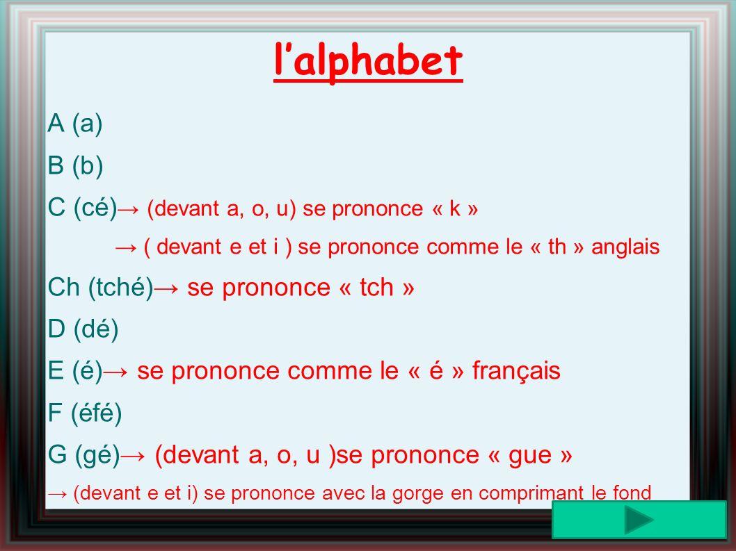 l'alphabet A (a) B (b) C (cé)→ (devant a, o, u) se prononce « k »