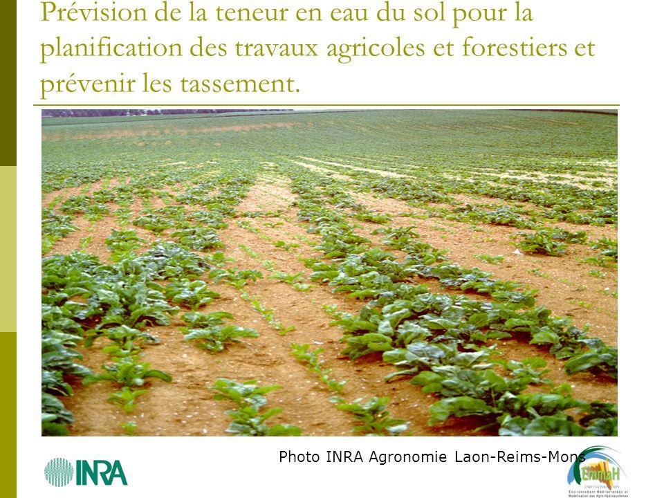 Prévision de la teneur en eau du sol pour la planification des travaux agricoles et forestiers et prévenir les tassement.