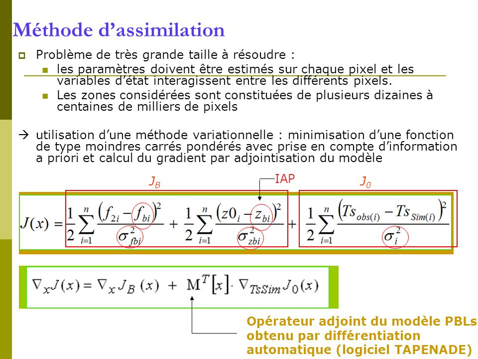 Méthode d'assimilation