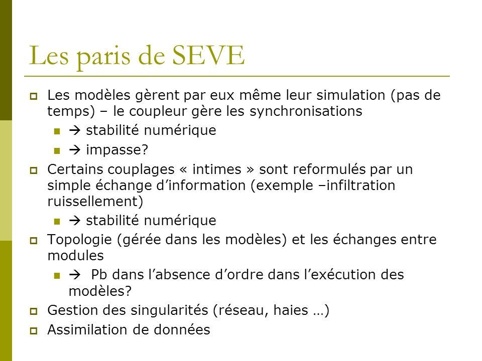 Les paris de SEVE Les modèles gèrent par eux même leur simulation (pas de temps) – le coupleur gère les synchronisations.