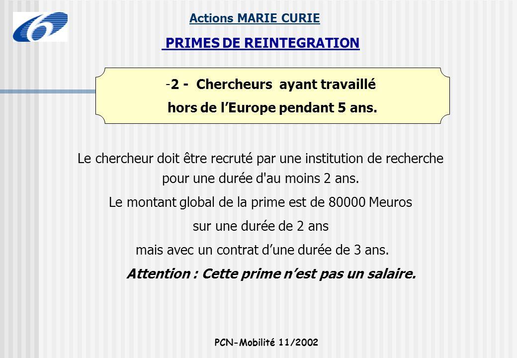PRIMES DE REINTEGRATION