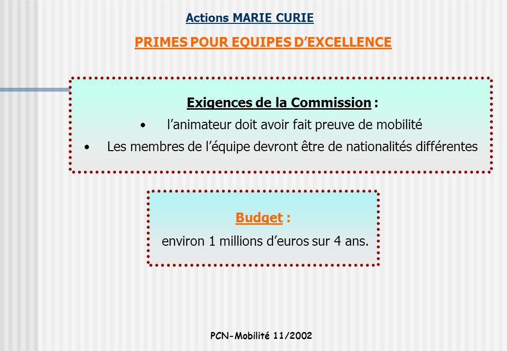 PRIMES POUR EQUIPES D'EXCELLENCE Exigences de la Commission :