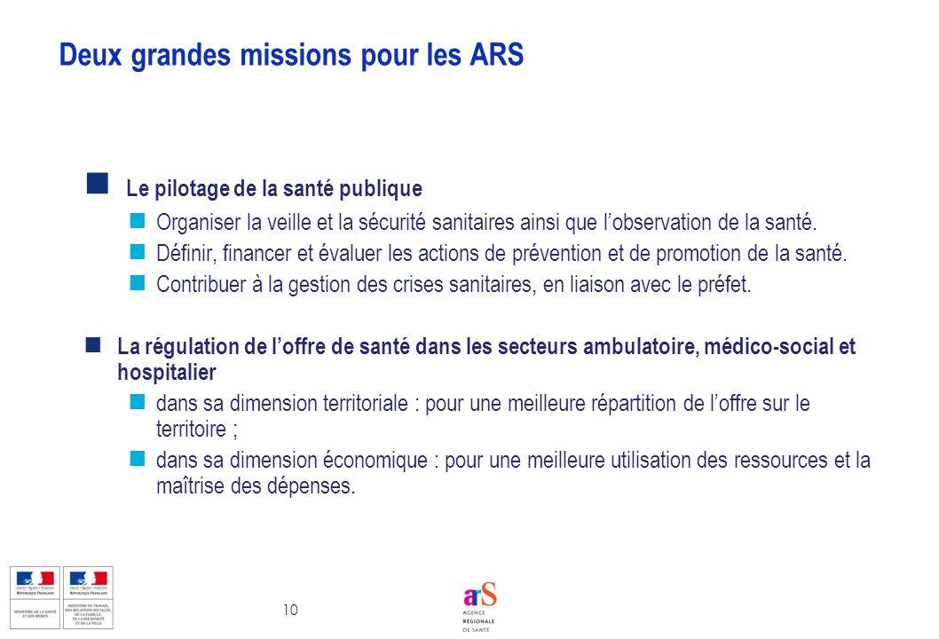 Deux grandes missions pour les ARS