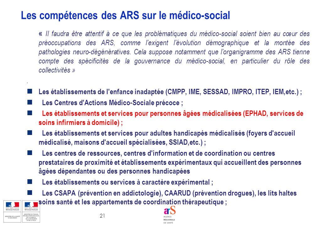 Les compétences des ARS sur le médico-social