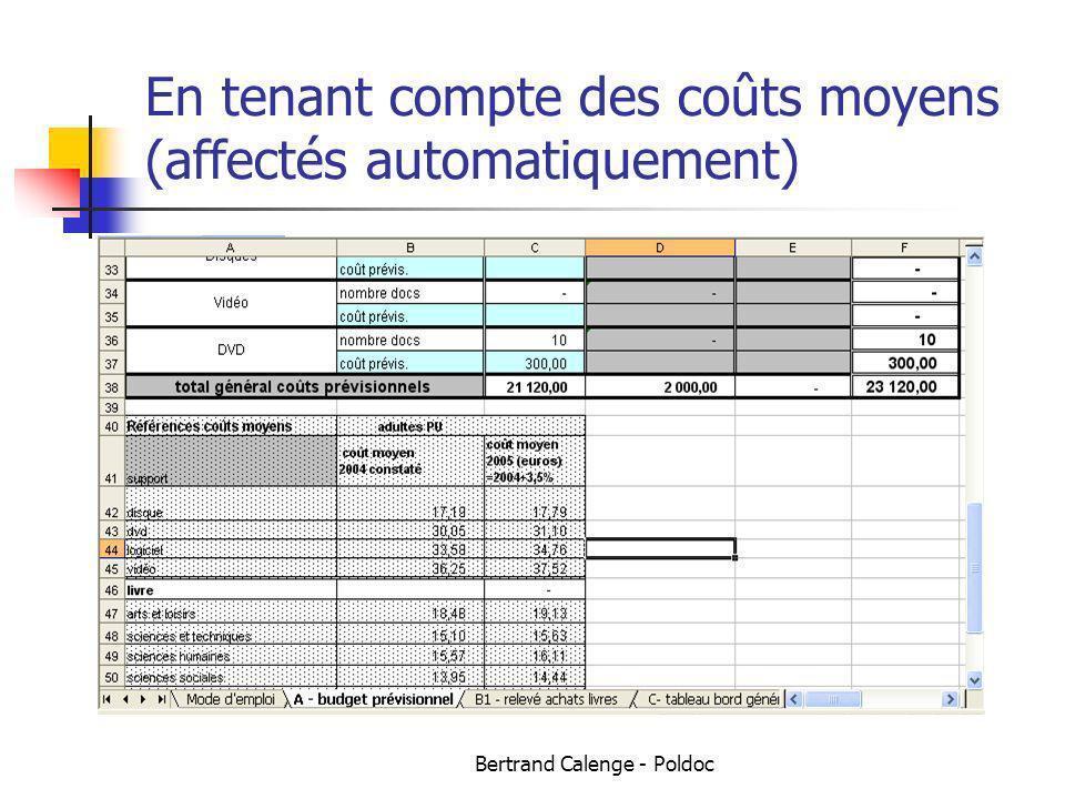 En tenant compte des coûts moyens (affectés automatiquement)