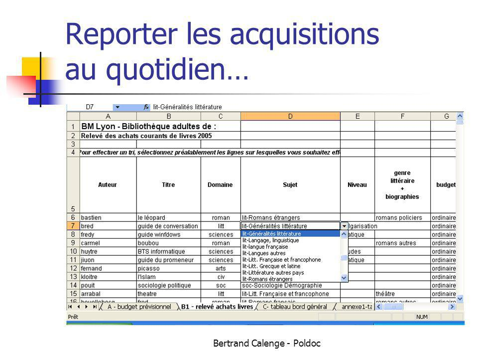 Reporter les acquisitions au quotidien…