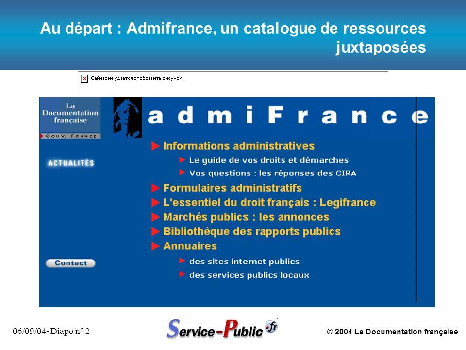 Au départ : Admifrance, un catalogue de ressources juxtaposées