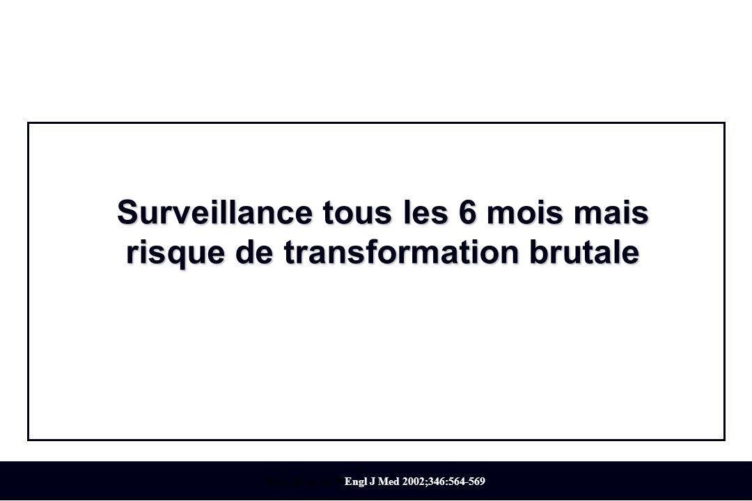 Surveillance tous les 6 mois mais risque de transformation brutale