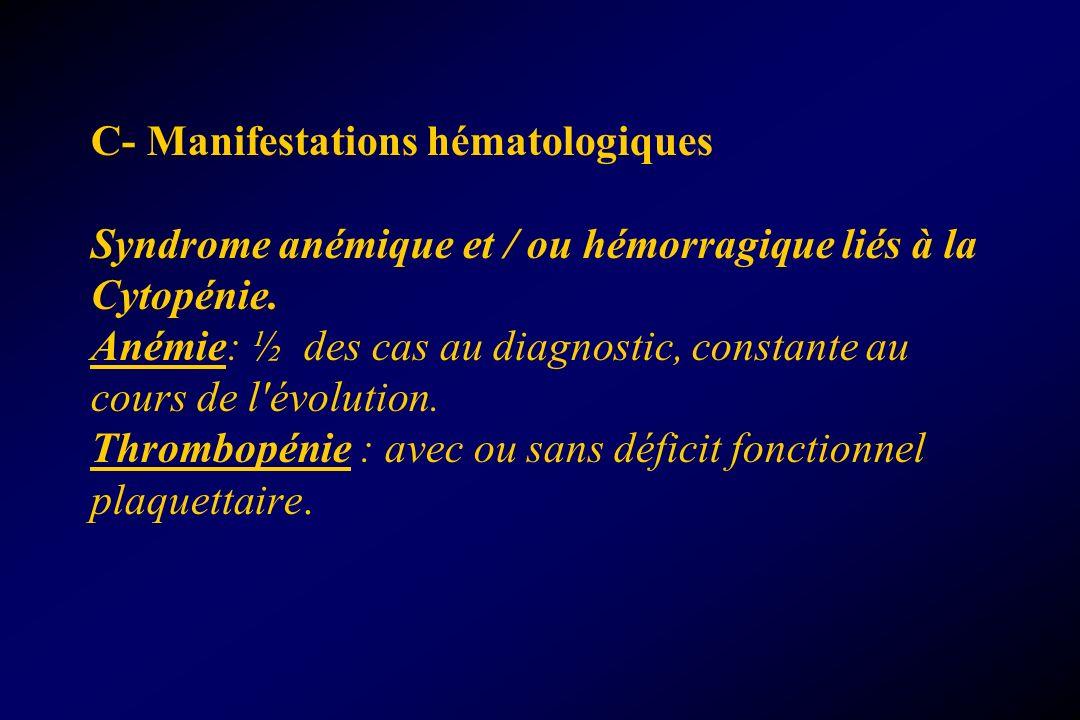 C- Manifestations hématologiques Syndrome anémique et / ou hémorragique liés à la Cytopénie.