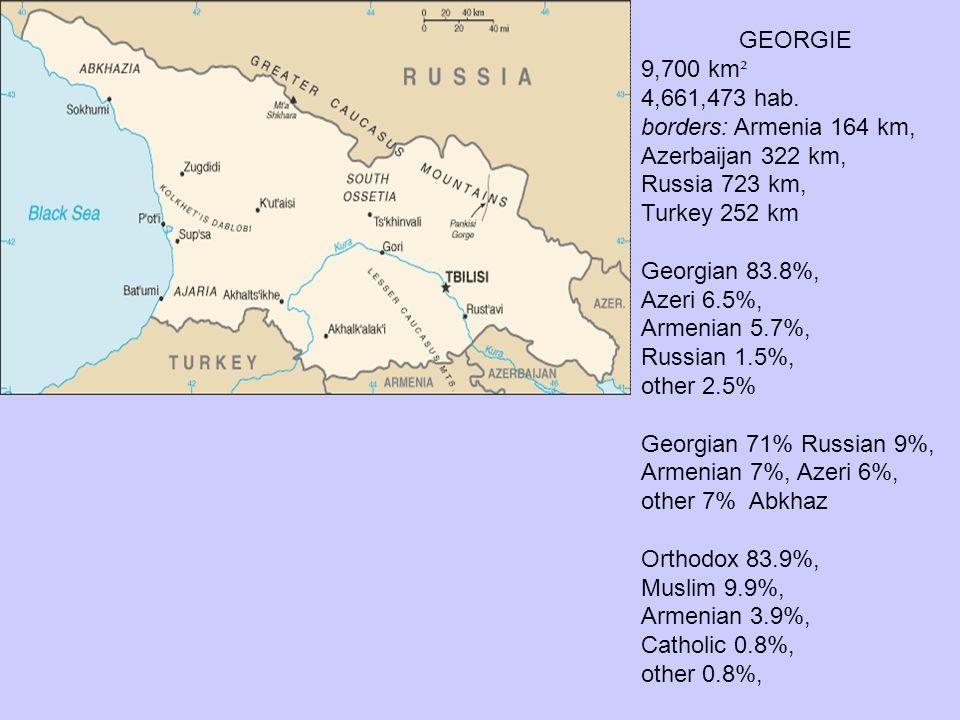 GEORGIE 9,700 km². 4,661,473 hab. borders: Armenia 164 km, Azerbaijan 322 km, Russia 723 km, Turkey 252 km.