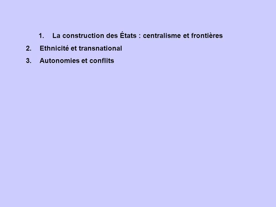 La construction des États : centralisme et frontières