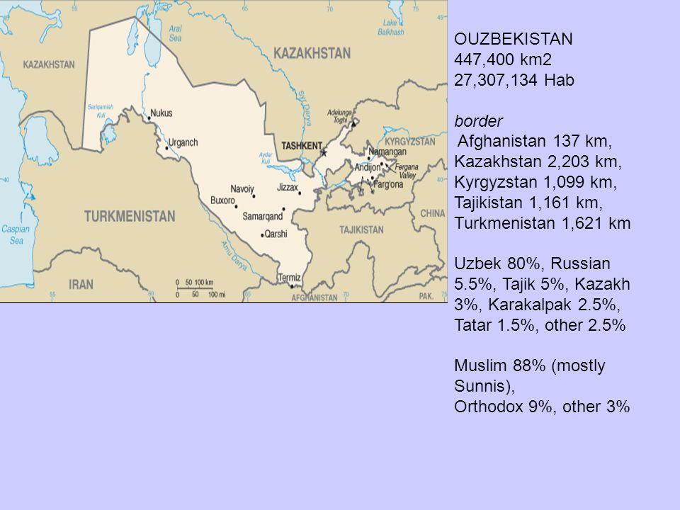 OUZBEKISTAN 447,400 km2. 27,307,134 Hab. border.
