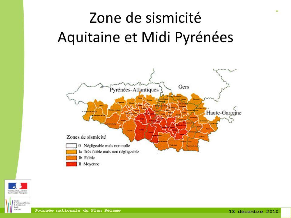Zone de sismicité Aquitaine et Midi Pyrénées