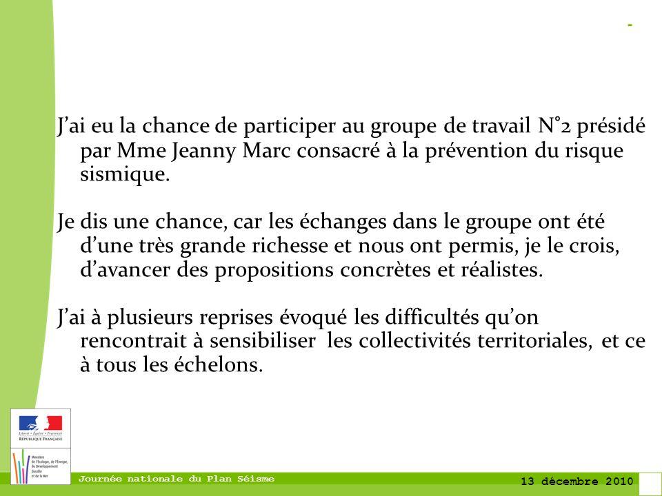 J'ai eu la chance de participer au groupe de travail N°2 présidé par Mme Jeanny Marc consacré à la prévention du risque sismique.