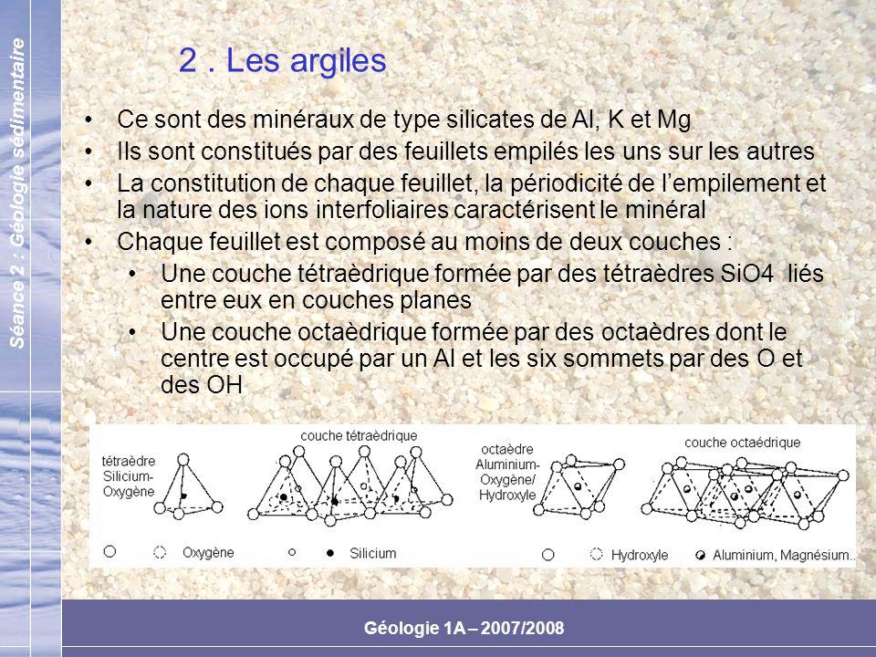 2 . Les argiles Ce sont des minéraux de type silicates de Al, K et Mg