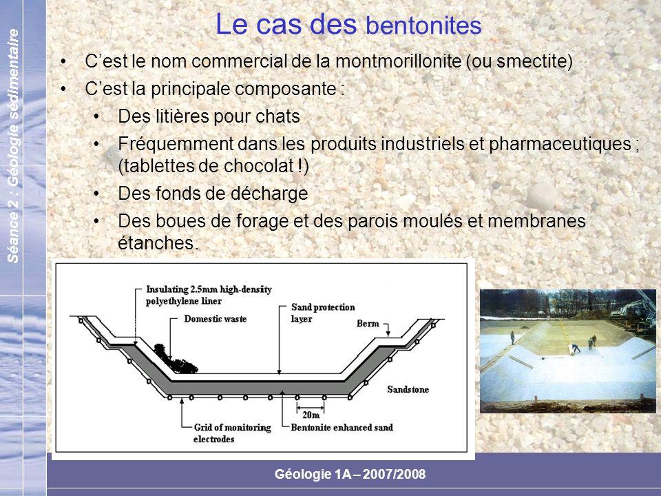 Le cas des bentonites C'est le nom commercial de la montmorillonite (ou smectite) C'est la principale composante :