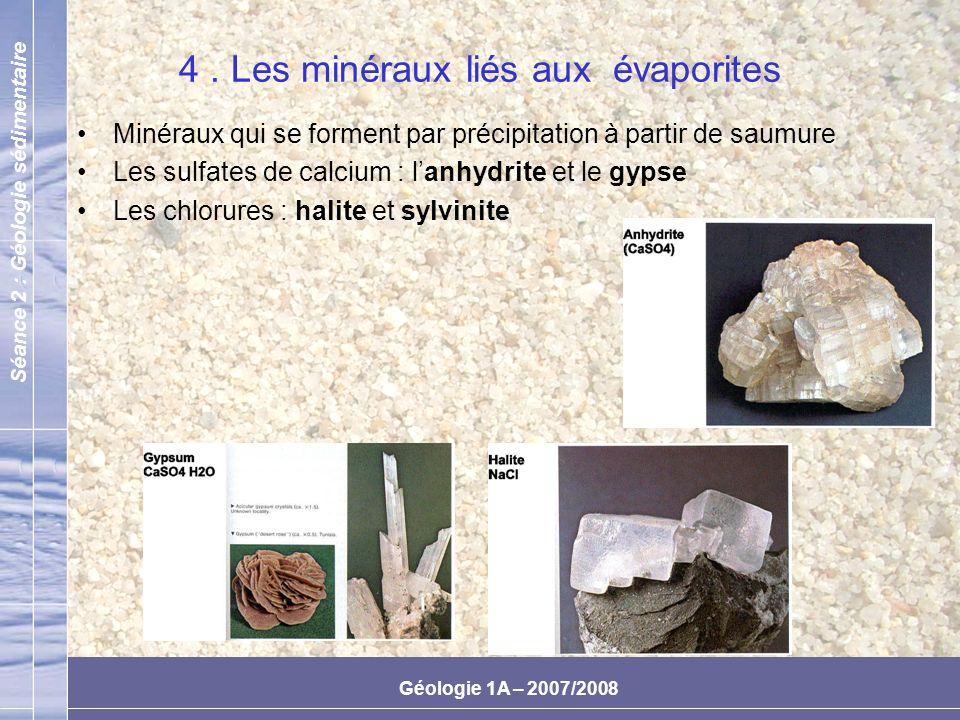 4 . Les minéraux liés aux évaporites