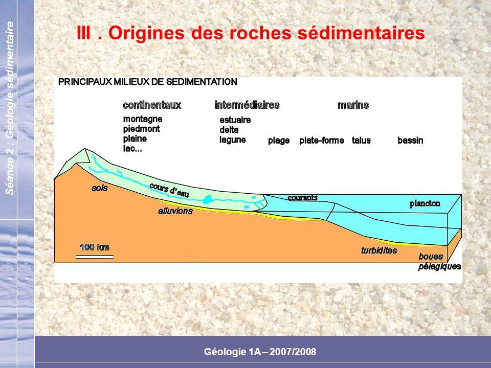 III . Origines des roches sédimentaires
