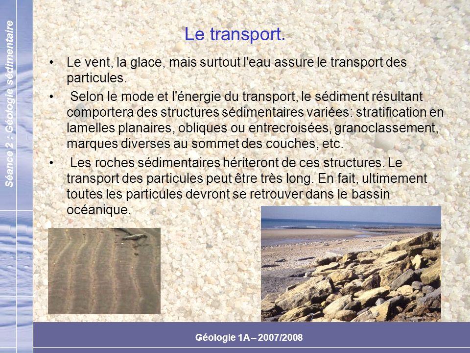 Le transport.Le vent, la glace, mais surtout l eau assure le transport des particules.