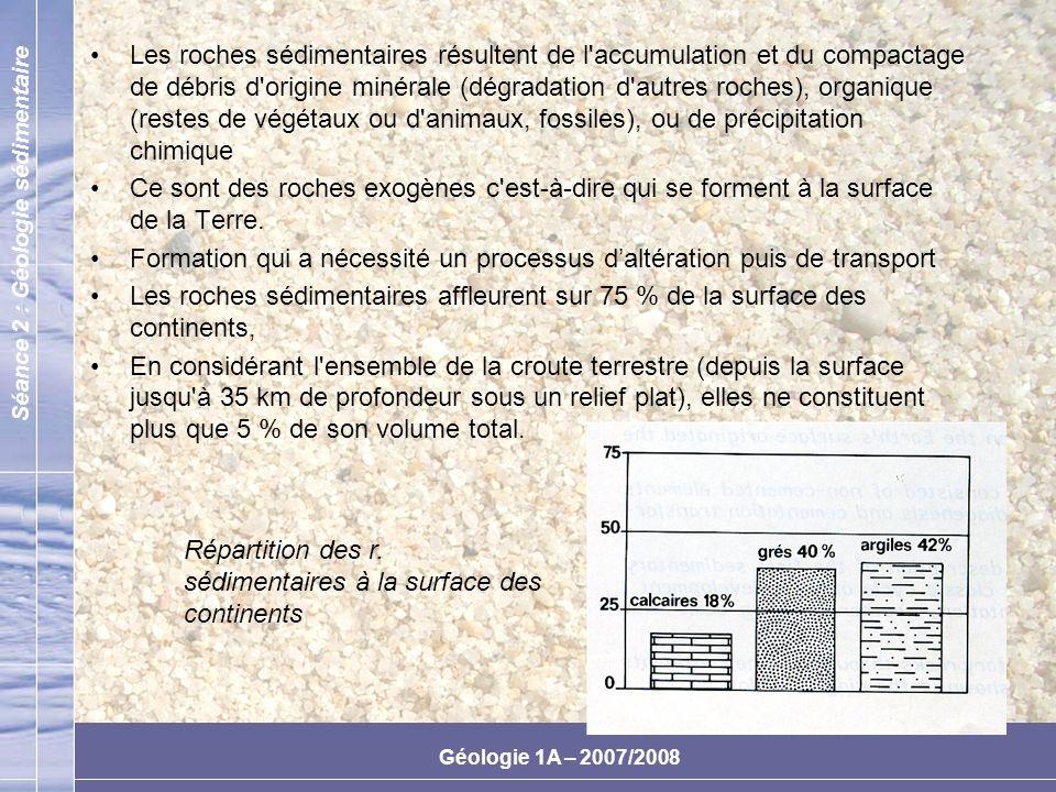 Les roches sédimentaires résultent de l accumulation et du compactage de débris d origine minérale (dégradation d autres roches), organique (restes de végétaux ou d animaux, fossiles), ou de précipitation chimique