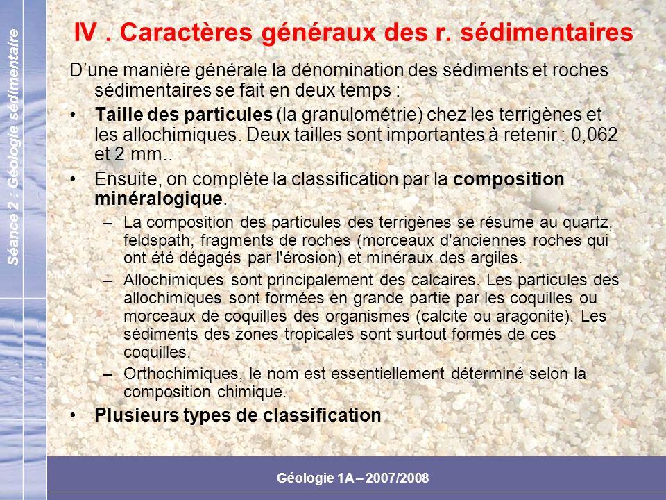IV . Caractères généraux des r. sédimentaires