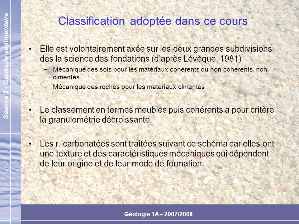 Classification adoptée dans ce cours
