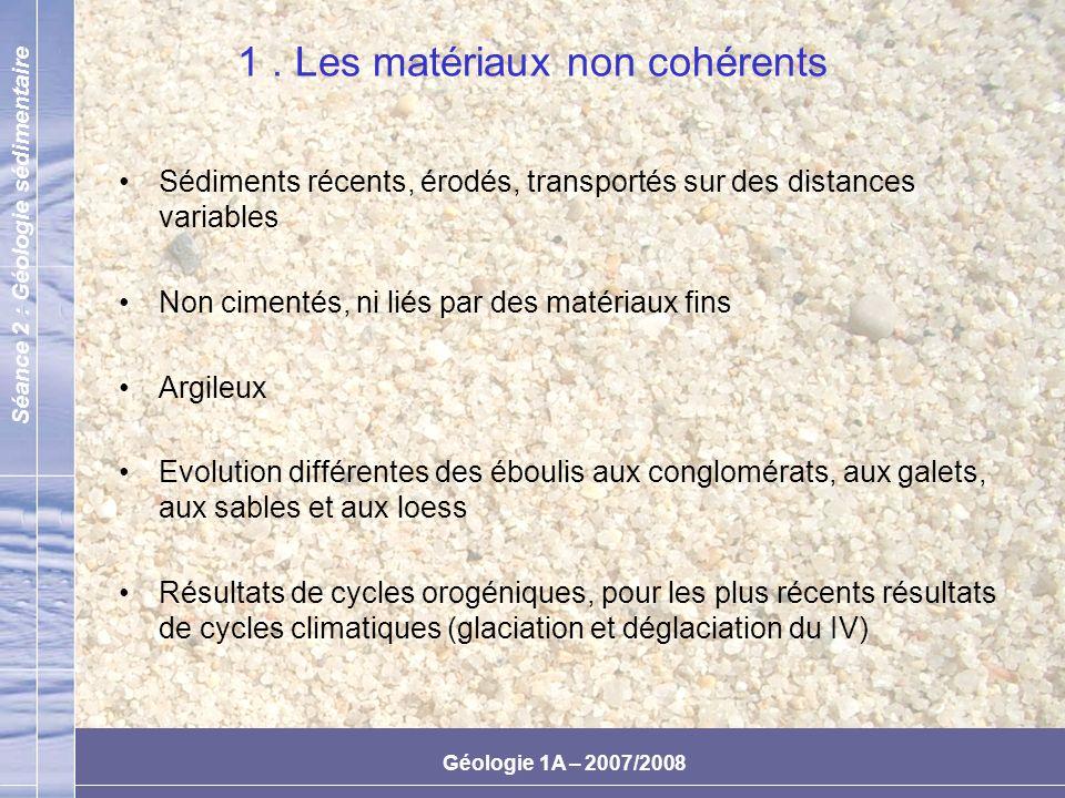 1 . Les matériaux non cohérents
