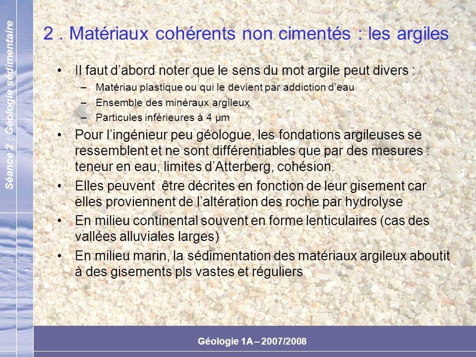 2 . Matériaux cohérents non cimentés : les argiles