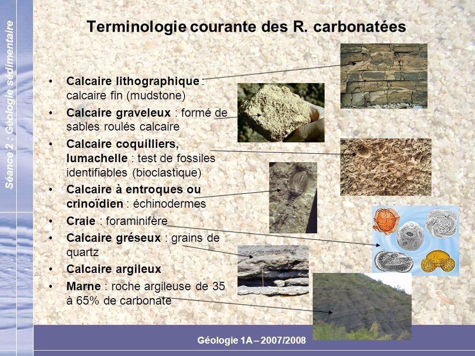 Terminologie courante des R. carbonatées