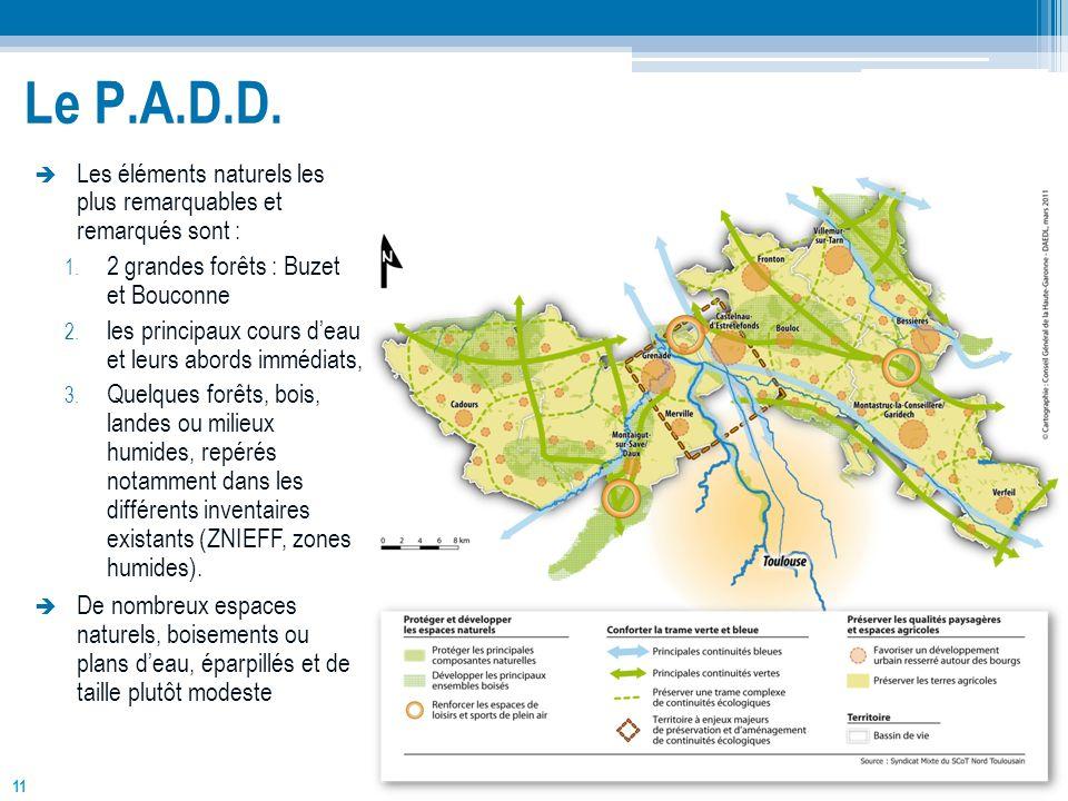 Le P.A.D.D. Les éléments naturels les plus remarquables et remarqués sont : 2 grandes forêts : Buzet et Bouconne.