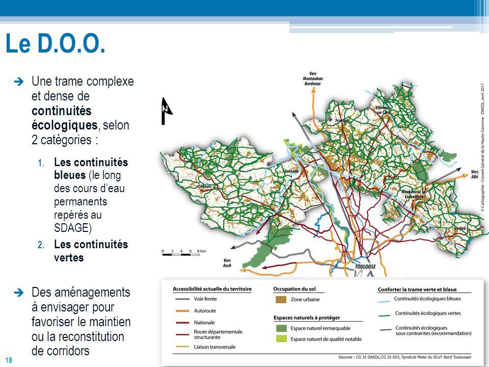 Le D.O.O. Une trame complexe et dense de continuités écologiques, selon 2 catégories :