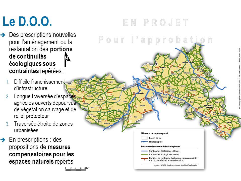 Le D.O.O. Des prescriptions nouvelles pour l'aménagement ou la restauration des portions de continuités écologiques sous contraintes repérées :
