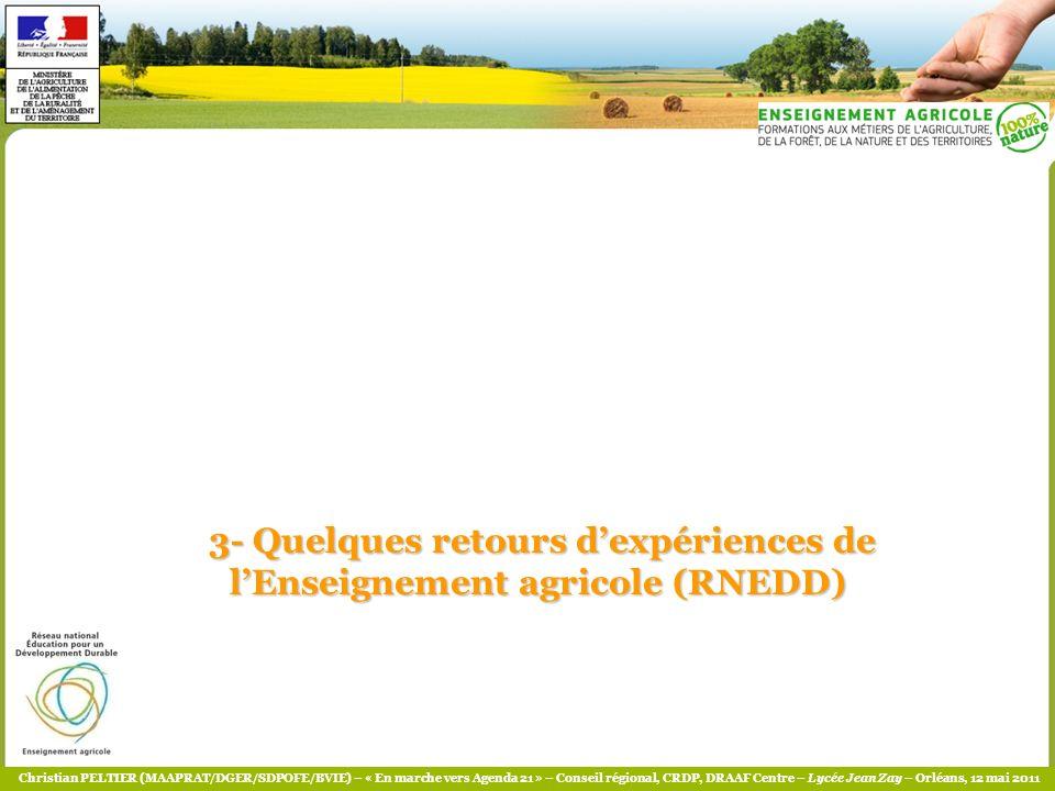 3- Quelques retours d'expériences de l'Enseignement agricole (RNEDD)