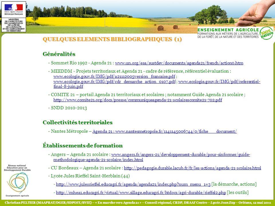 QUELQUES ELEMENTS BIBLIOGRAPHIQUES (1) Généralités