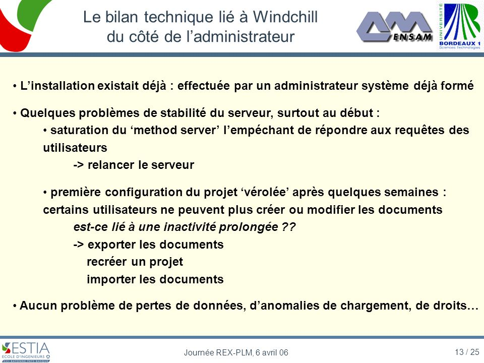 Le bilan technique lié à Windchill du côté de l'administrateur