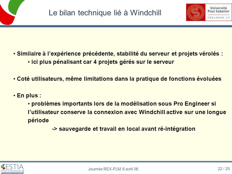 Le bilan technique lié à Windchill