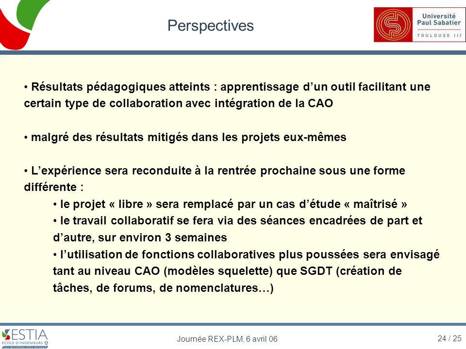 Perspectives Résultats pédagogiques atteints : apprentissage d'un outil facilitant une certain type de collaboration avec intégration de la CAO.