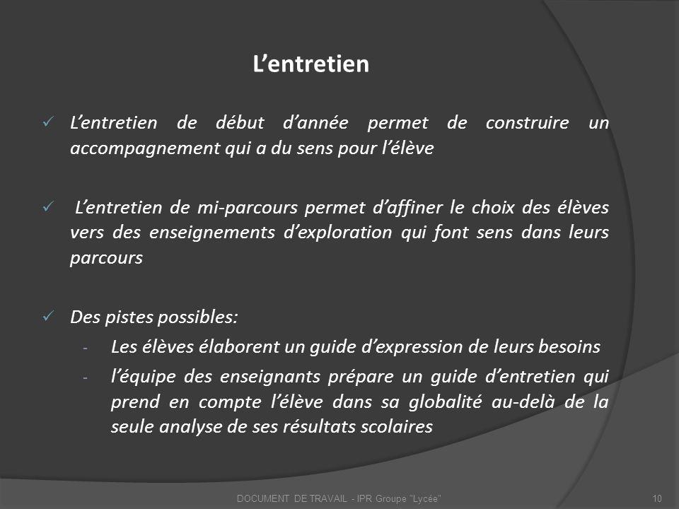 DOCUMENT DE TRAVAIL - IPR Groupe Lycée