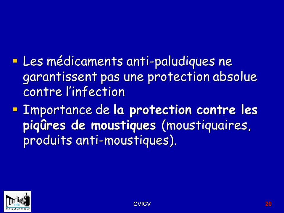 Les médicaments anti-paludiques ne garantissent pas une protection absolue contre l'infection