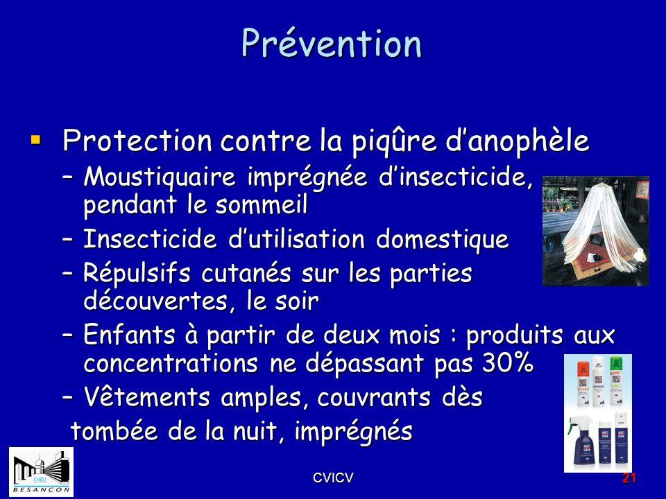Prévention Protection contre la piqûre d'anophèle