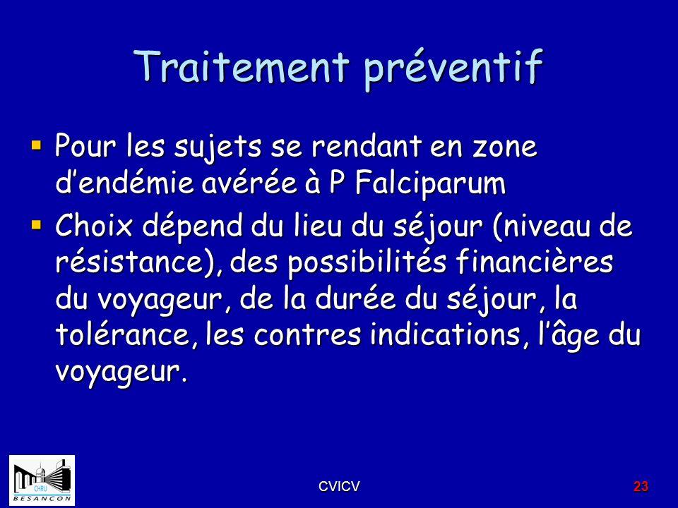 Traitement préventif Pour les sujets se rendant en zone d'endémie avérée à P Falciparum.
