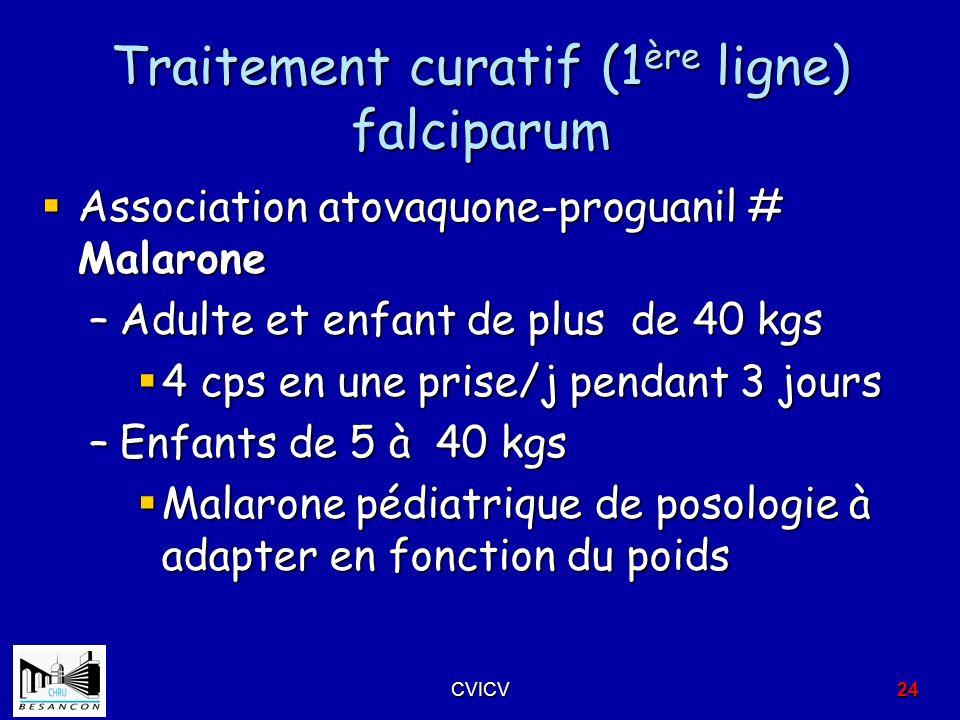 Traitement curatif (1ère ligne) falciparum
