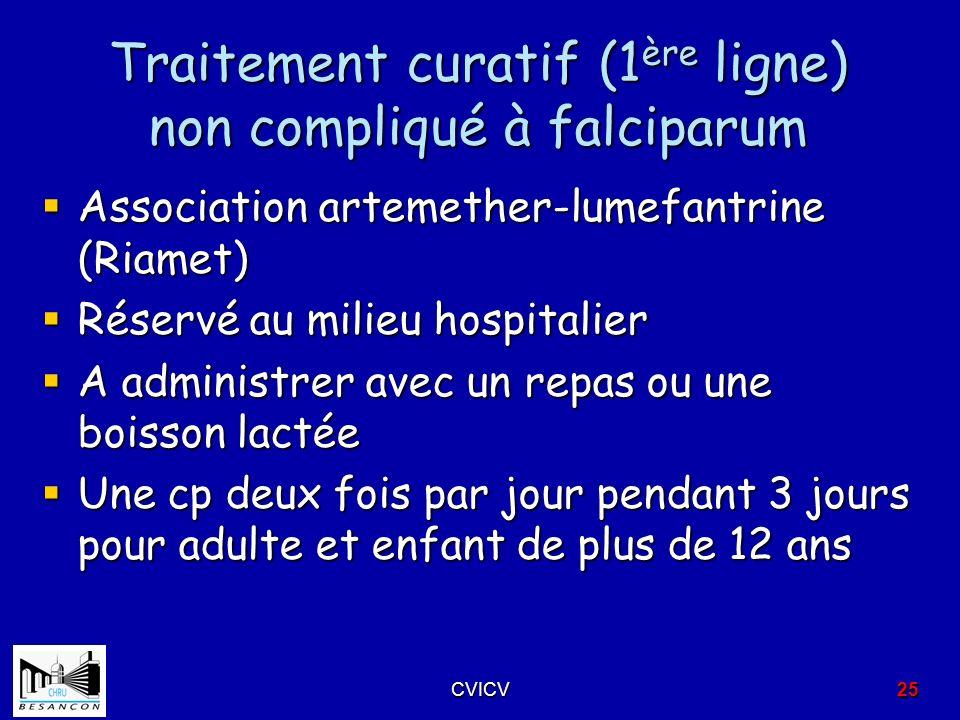 Traitement curatif (1ère ligne) non compliqué à falciparum