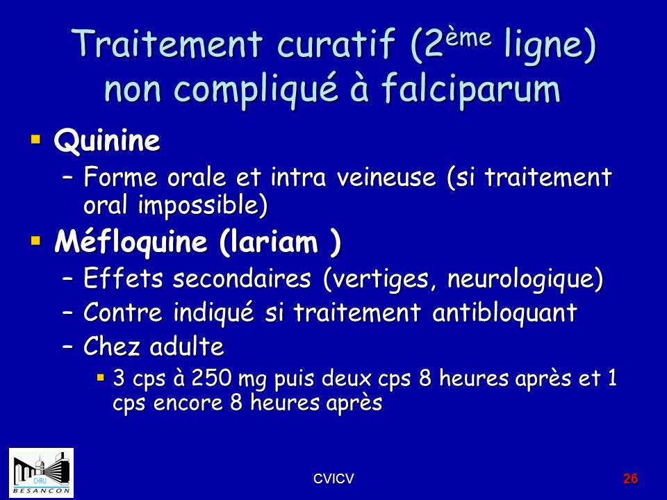 Traitement curatif (2ème ligne) non compliqué à falciparum