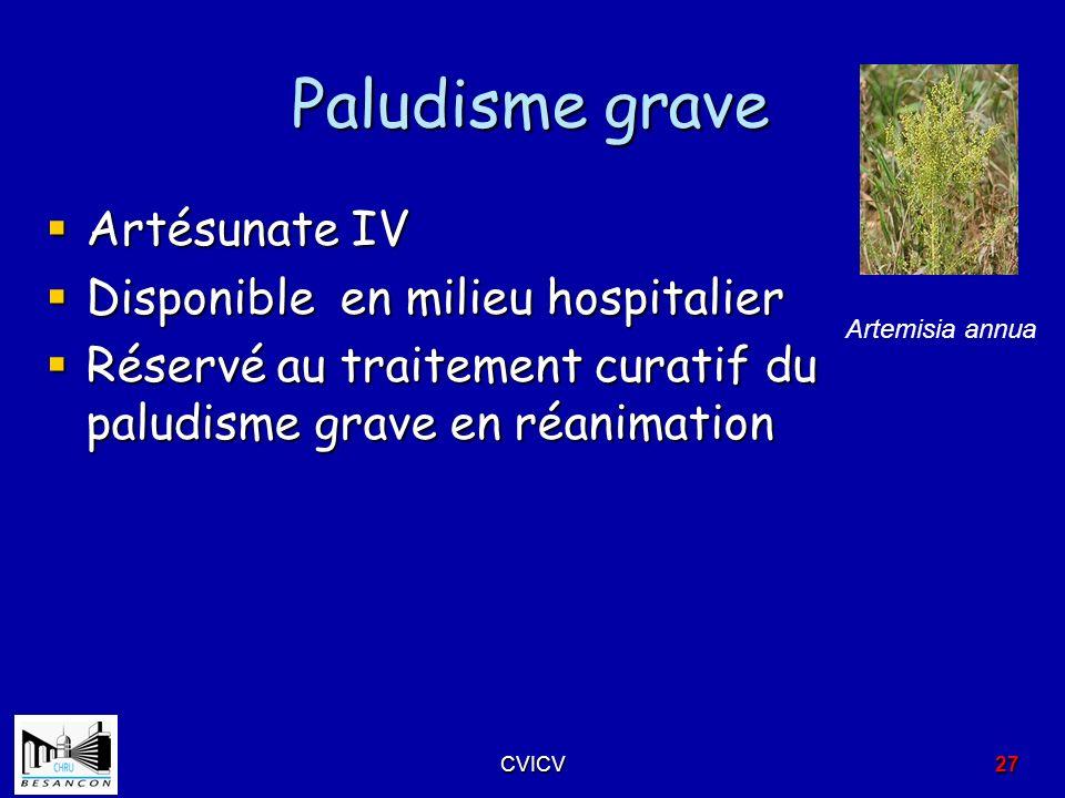 Paludisme grave Artésunate IV Disponible en milieu hospitalier