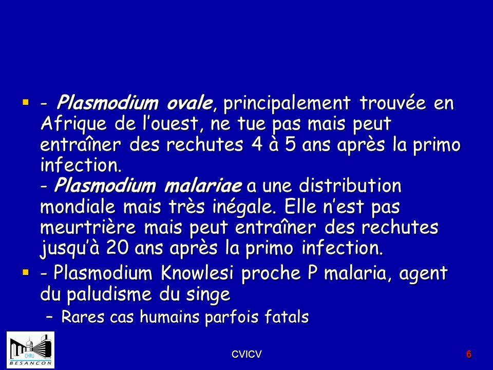 - Plasmodium Knowlesi proche P malaria, agent du paludisme du singe