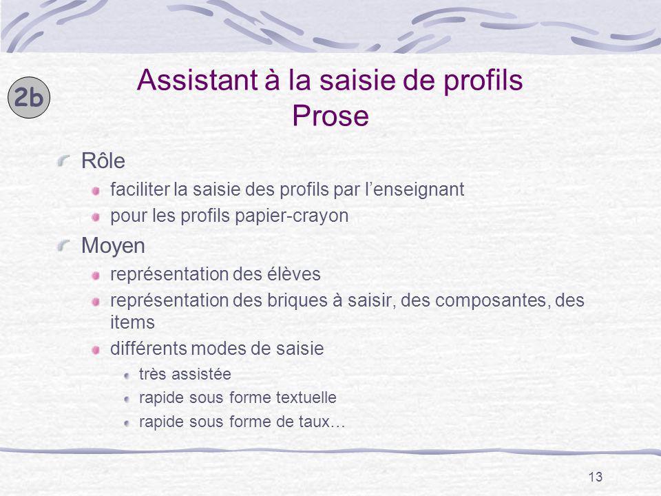 Assistant à la saisie de profils Prose